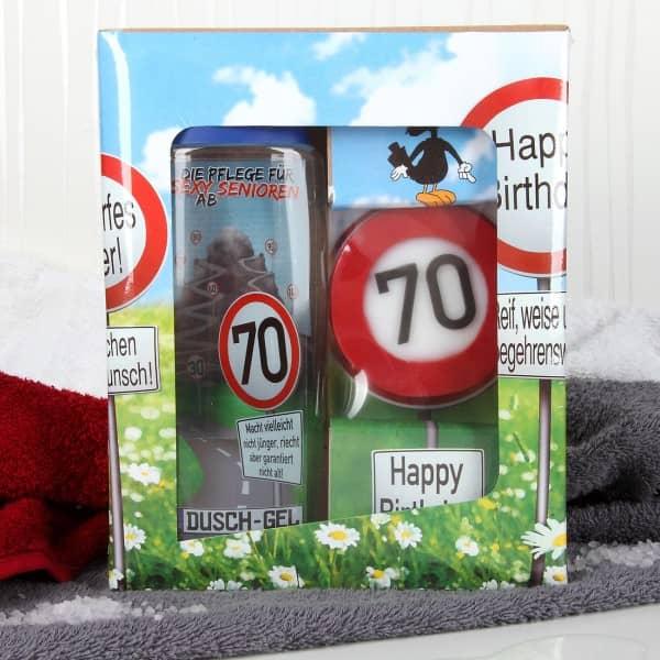 lustiges Geburtstagsgeschenk Badset Verkehrszeichen zum 70. Geburtstag