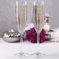 2 gravierte Sektgläser zur Hochzeit mit Wunschnamen