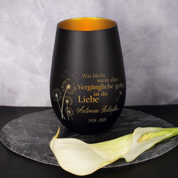 Teelicht zur Tauer mit Pusteblumen-Motiv