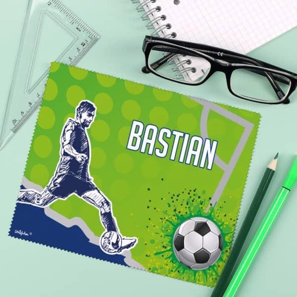 Brillenputztuch für Fußballer mit Wunschname