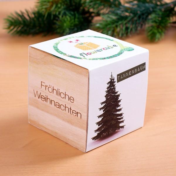 Fröhliche Weihnachten - Tannenbaum in Holzwürfel als Geschenk
