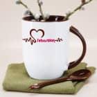 Herzschlag - Tasse mit Löffel und Name