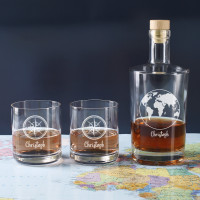 Edles graviertes Whiskey-Set mit Karaffe und Gläsern