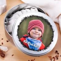 Runde Foto-Geschenkdose mit Ihrem Wunschtext