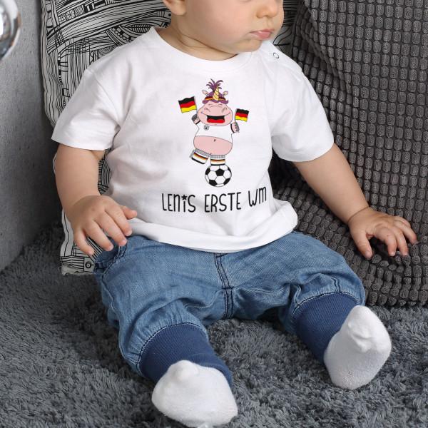 Baby T Shirt mit WM Knuddelhorn und Wunschname