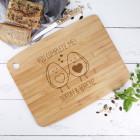 XL Bambusbrett mit Avocadopärchen und Ihren Wunschnamen