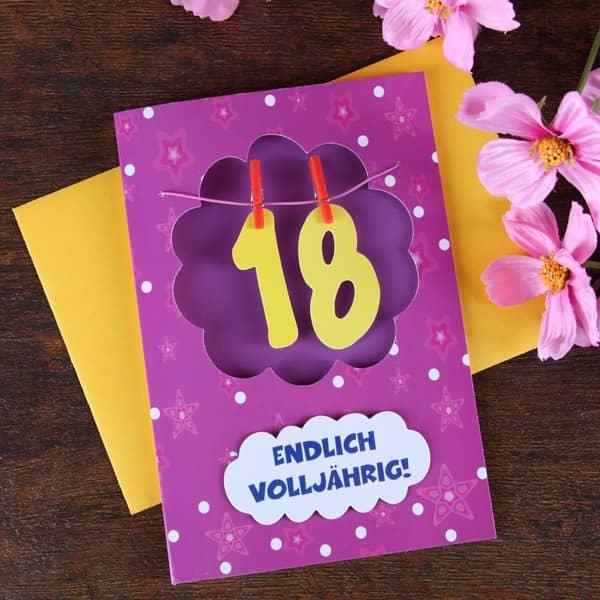 Grußkarte mit Wäscheleine zum 18.Geburtstag