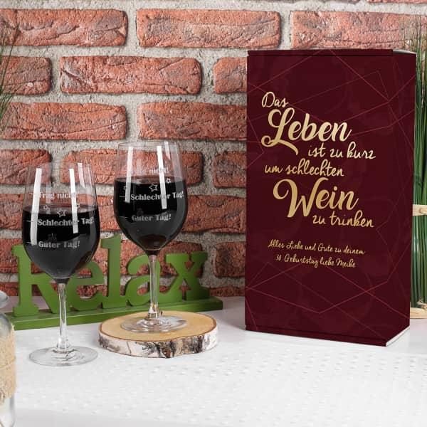 2er Set Stimmungsgläser in personalisierter Geschenkverpackung