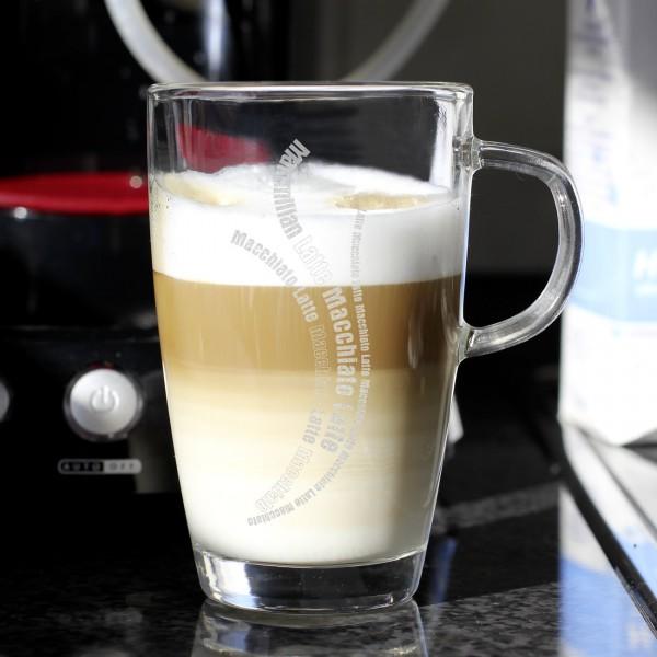 persönliches Trinkglas für Latte Macchiato mit Wunschnamen