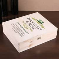 persönlich bedruckte Geschenkverpackung aus Holz zur Silberhochzeit