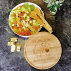 XXL Salatschale mit Bambusbrettchen und Salatbesteck