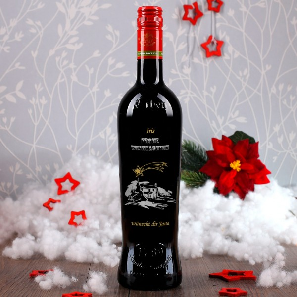 Persönliche Weinflasche zu Weihnachten mit Gravur