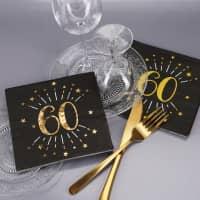 Servietten zum 60. Geburtstag - schwarz/gold-metallic