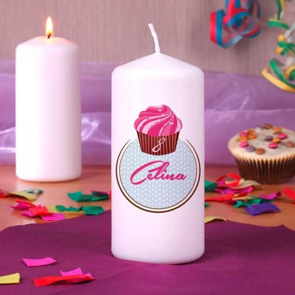 Kerze mit süßem Cupcakemotiv bedruckt