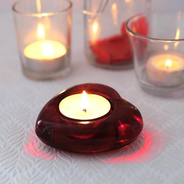Herzteelichthalter aus Glas
