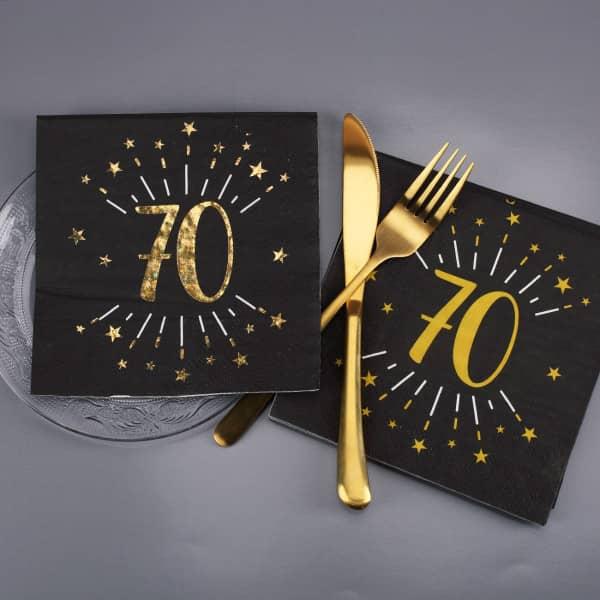 Servietten zum 70. Geburtstag - gold