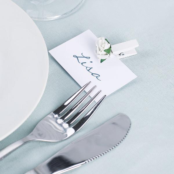 4er Set Deko Klammern mit Rosen in Weiß