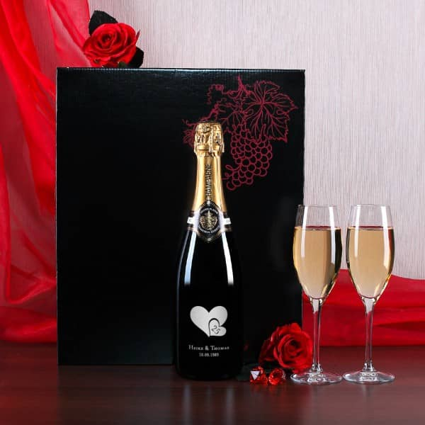 Hochwertiges Champagnerset mit Gravur zur Silberhochzeit