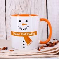 Schneemann-Tasse mit Ihrem Wunschtext