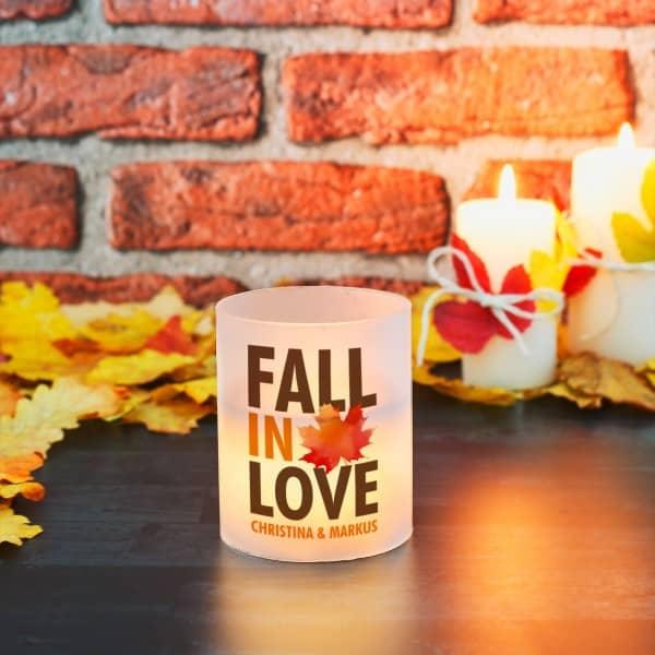 Kerze mit Herbstmotiv
