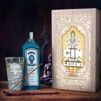 Der Gin des Lebens im Geschenk-Set mit Glas - Holzkiste - Bombay Gin