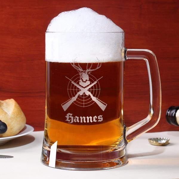 Bierkrug für Jäger mit Name und Jagdmotiv