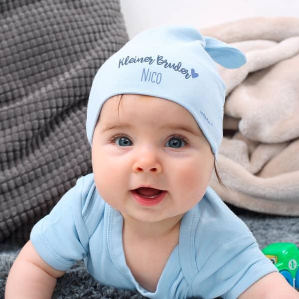 Hellblaue Babymütze Kleiner Bruder