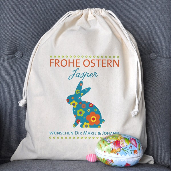 Frohe Ostern Geschenksack mit Hase, Name, Wunschtext