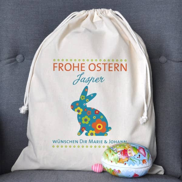 Frohe Ostern Geschenksack mit Name und Wunschtext