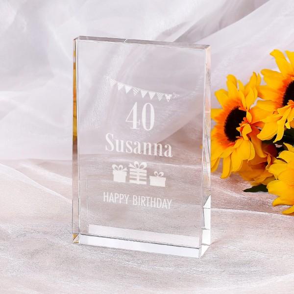 Personalisierter Glasblock zum Geburtstag
