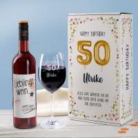 Happy Birthday 50 - Geschenkset mit Lieblingswein und Weinglas in Geschenkbox