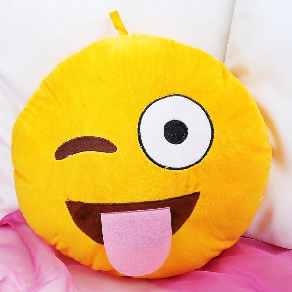 Verrücktes Smiley-Kissen mit ausgestreckter Zunge