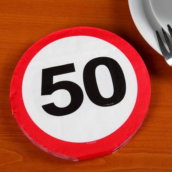 Partyservietten Verkehrszeichen 50