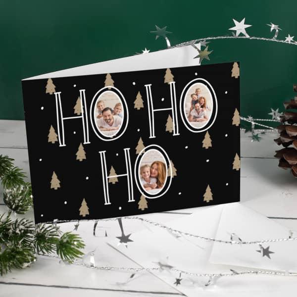 Nützlichgrusskarten - Weihnachtskarte Ho Ho Ho mit Ihren Lieblingsfotos - Onlineshop Geschenke online.de