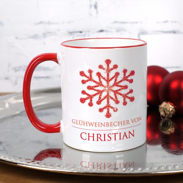 Weihnachtstasse mit Schneekristall, Wunschtext und Name