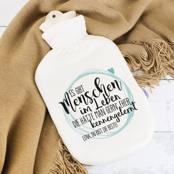 Bedruckte Wärmflasche für einen lieben Menschen