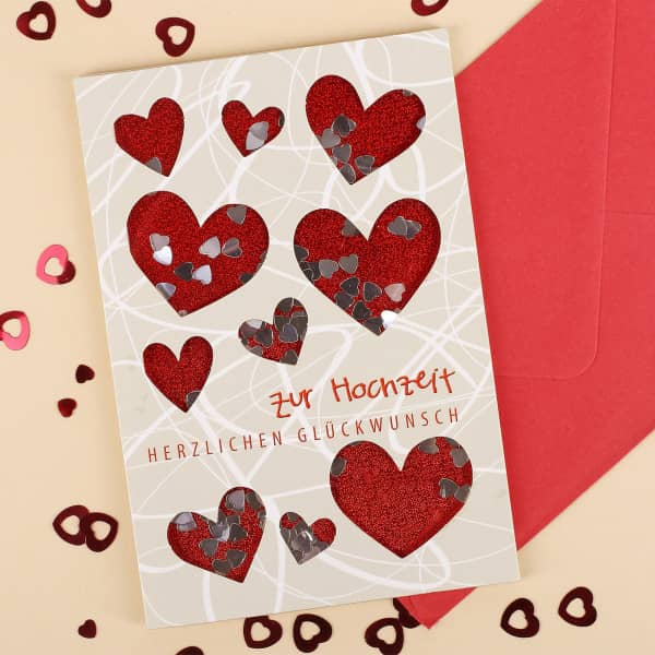 Konfetti Schüttel Glückwunschkarte zur Hochzeit mit Herzen