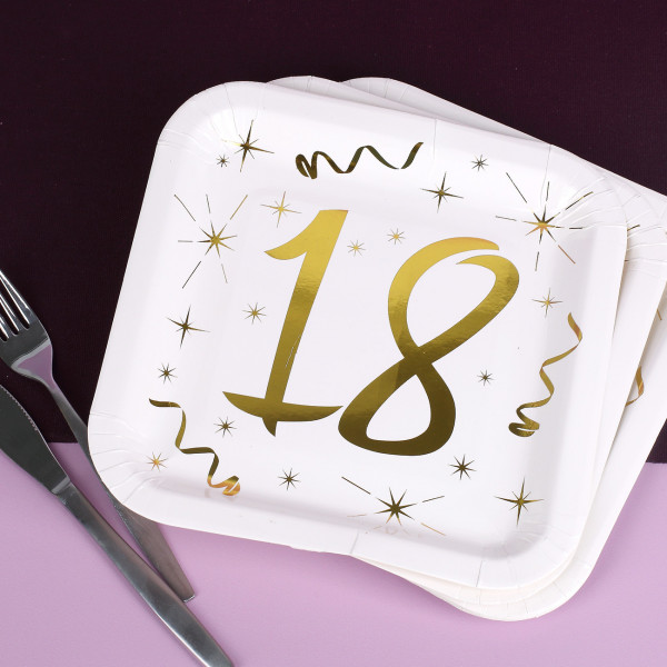 Partybedarfpartydeko - Quadratische Pappteller mit Gold Metallic zum 18. Geburtstag - Onlineshop Geschenke online.de