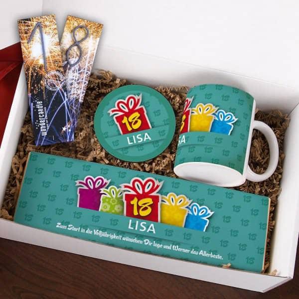 Gefüllte Geschenkbox zum 18. Geburtstag
