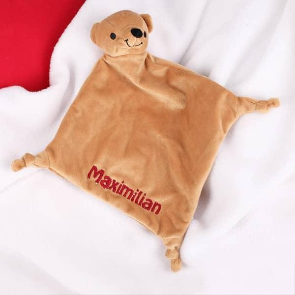 Schnuffeltuch mit Namen bestickt Bär