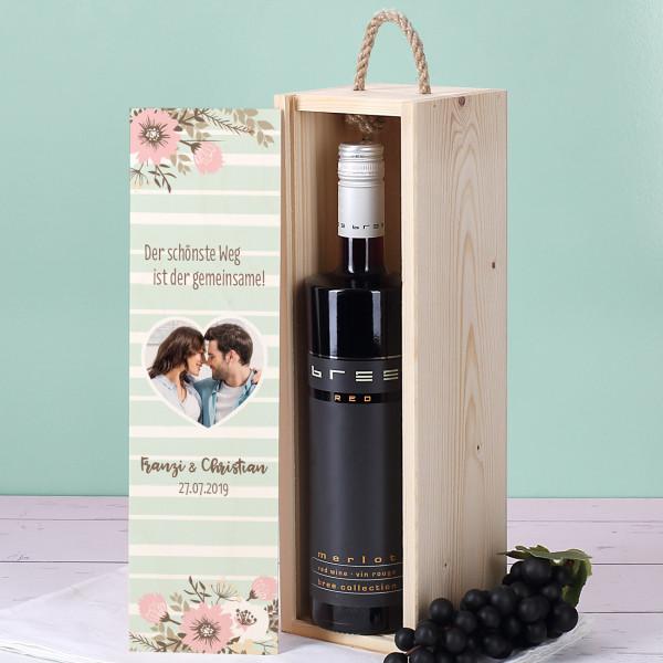 BREE Wein in bedruckter Geschenkverpackung zur Hochzeit