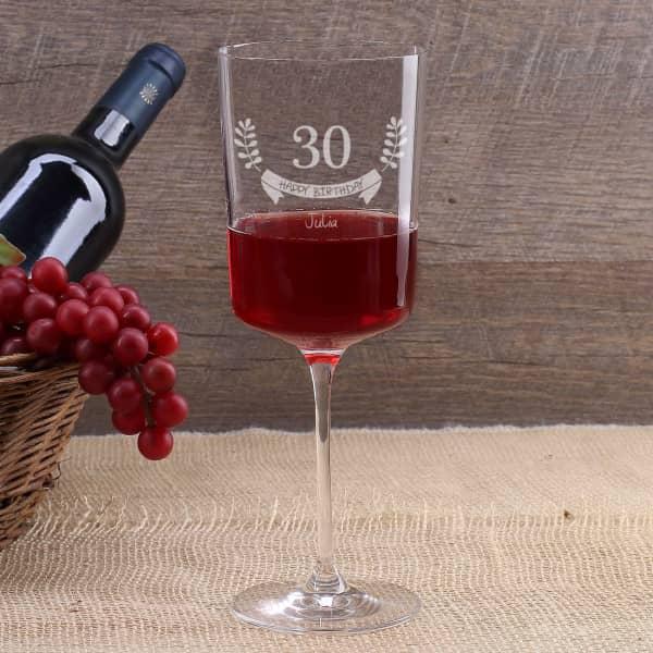 Happy Birthday graviertes Weinglas zum Geburtstag