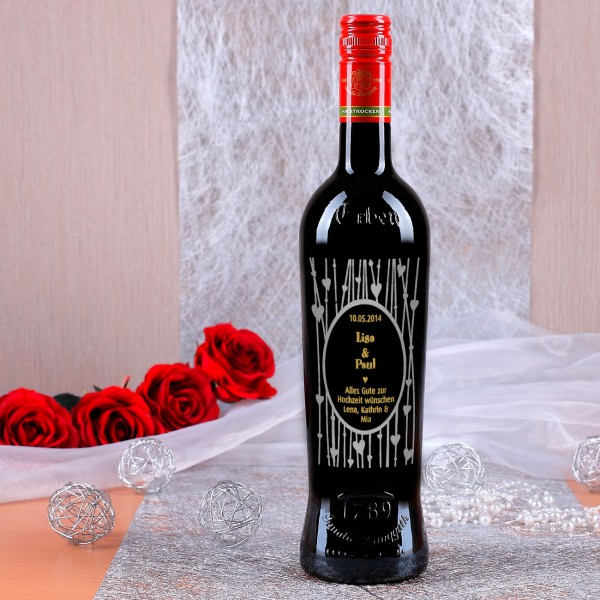Persönliche Weinflasche mit Gravur zur Hochzeit, zweifarbig