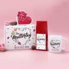 Blumenherz Geschenkset zum Muttertag - mit Tee, Tasse, Lindorkugeln und Geschenkbox