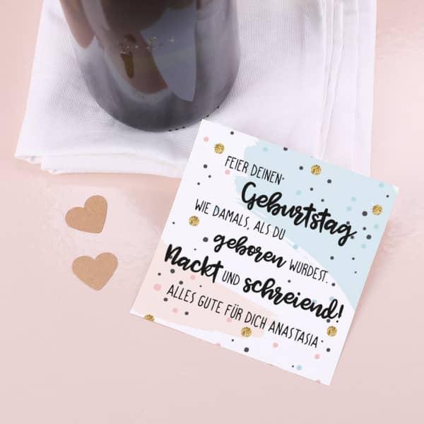 Selbstklebendes Flaschenetikett zum Geburtstag mit Spruch und Wunschtext
