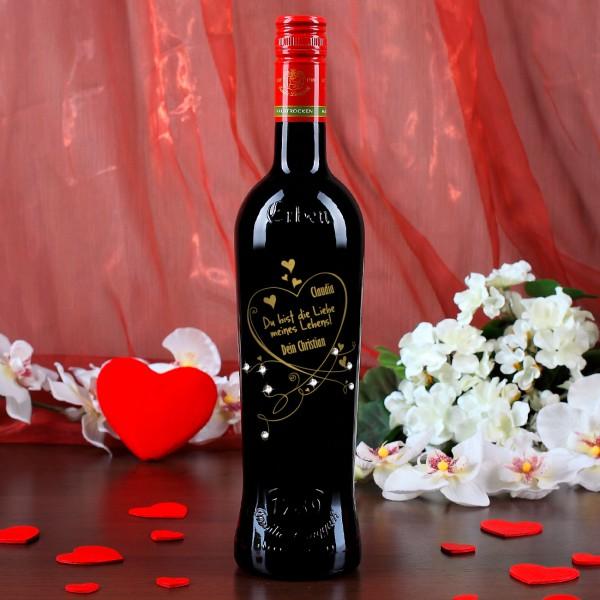 Weinflasche Liebe meines Lebens mit Swarovski-Elements