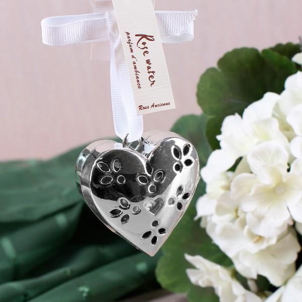Metall-Herz mit Duftherz und weißem Aufhängeband