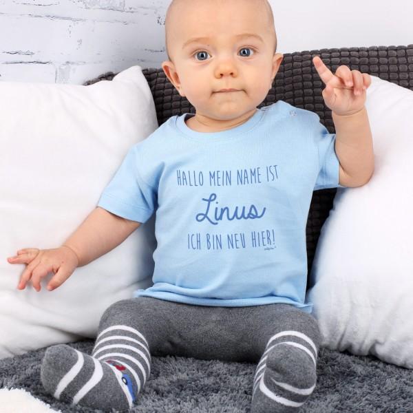 Blaues Babyshirt mit Name Ich bin neu hier
