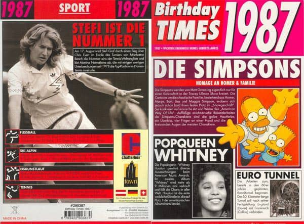 Birthday Times Karte mit Sound 1987