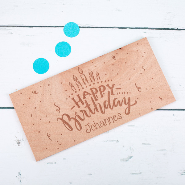"""Holzkarte """"Happy Birthday"""" mit Wunschname"""